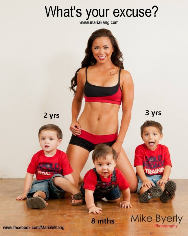 A look at the 'controversial' new image of the workout buff posing before her children. Image taken from: allfacebook.com.