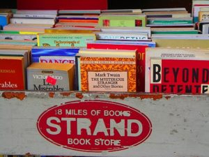 A look at a shelf in the renowned 'Strand' book outlet. Image taken from: therighteousbrew.files.wordpress.com.