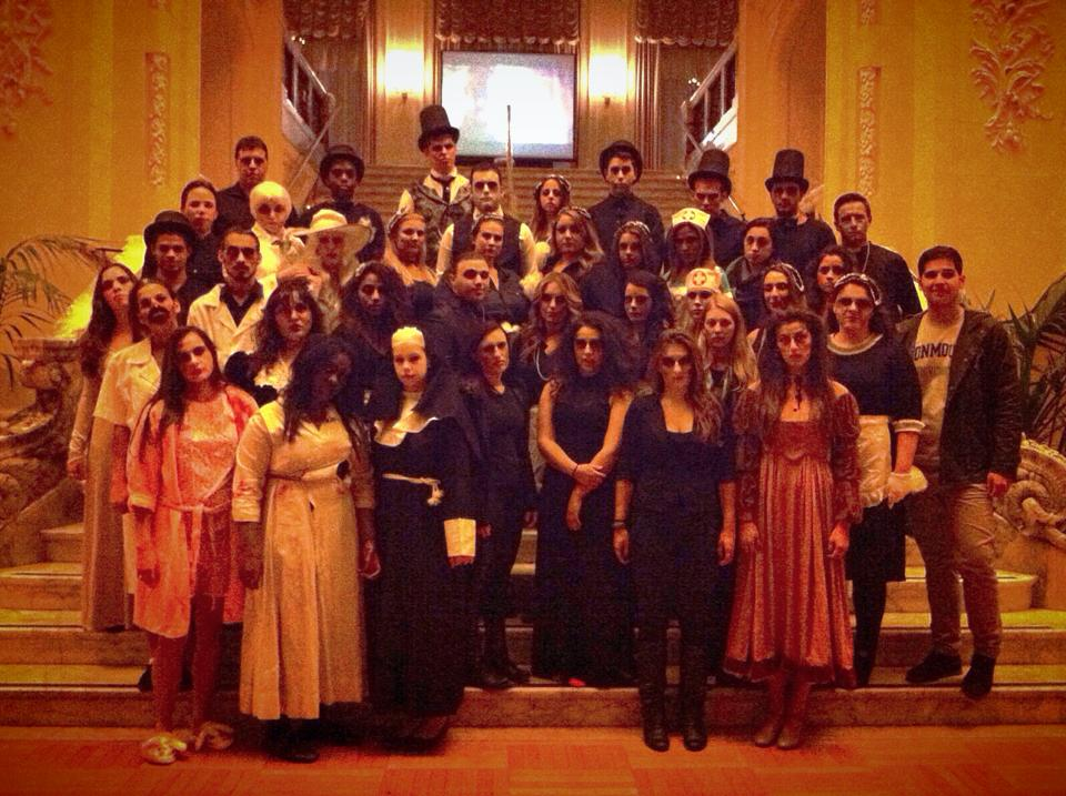 A look at the scary folks of the Wilson Hall tour, who paused their haunting for a moment to pose for cameras. Photo courtesy of: Amanda Gruber.