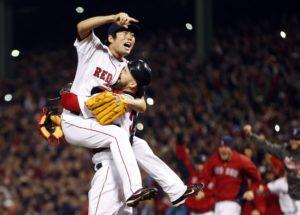 Koji Uehara celebrates his World Series win with catcher, Cody Ross. Image taken from: img.washingtonpost.com.