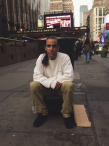 Darrin Sher, 43, currently lives outside of Penn Station in New York City.