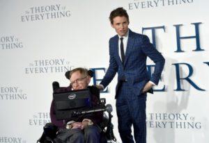 Actor Eddie Redmayne and Stephen Hawking at the film's premier.  Photo credit: www.yorkpress.co.uk