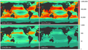 Model results for global count density if four size classes.