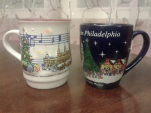 Two cups of gluhwein from the market in Vienna and the one in Philadelphia.