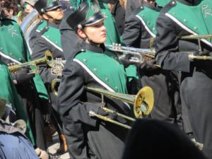 A band playing at the 2014 St. Patrick's Day Parade in Boston.