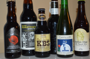 Some rare and limited beers: (left to right): Lost Abbey Red Poppy, Epic Big Bad Baptist, Founders KBS, Goose Island Bourbon County Stout, Cantillon Gueuze, Dog Fish Head 120 Minute IPA.  Photo courtesy of Peter Douma